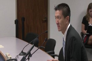 Attorney General Douglas Chin.ate Committee. Photo still taken from Marsy's Law for Hawai'i video.