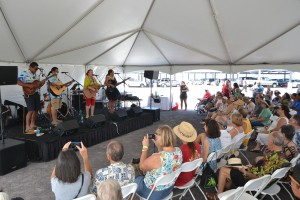 Award-winning musician Robi Kahakalau and the Keawe Trio perform at the Open House and Grand Opening Celebration. Hawai'i Community College – Pālamanui photo.