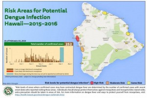 The Hawai'i Department of Health updated its map of potential areas of dengue fever infection, based on confirmed case information as of Wednesday, Feb. 10. DOH image.