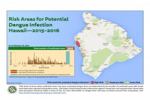 The Hawai'i Department of Health updated its map of potential areas of dengue fever infection, based on confirmed case information as of Wednesday, Feb. 24 DOH image.