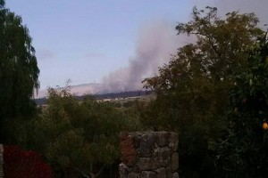 A view of one of the brush fires from Puu Lani Ranch. Photo by Rachel Riley.
