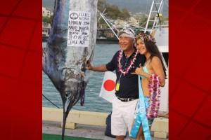 A marlin, caught by a crew from Kusatsu, Japan, was featured at last year's Hawaiian International Billfish Tournament. HIBT photo.