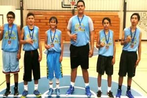 Members of the Intermediate Champion Waiākea Titans (from left)—Dominic Rodrigues, Chance Simeona, Kiai Apele, Macmillain Aloisio, Guyson Ogata, and Vergil Henry. HI-PAL photo.