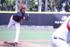 UH-Hilo pitcher Jordan Kurokawa throws in the Vulcans' alunmi game earlier this season. UH-Hilo photo.