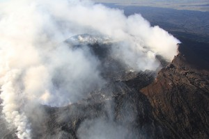 Multiple degassing sources in the crater and on the flanks of Pu'u 'Ō'ō create a plume that fills the sky above Kīlauea Volcano's East Rift Zone eruption site on December 30, 2015. USGS photo.