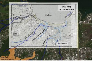 An 1891 map of Hilo, produced by Surveyor E.D. Baldwin, is superimposed on a recent Google Earth image of the town to show the location of the Kalanakamaa gulch relative to the 'Alenaio and Waiākea streams. The 1880-1881 Mauna Loa lava flow, shown in orange (lower left), reportedly diverted water from the Kalanakamaa gulch, which has since been filled in by construction and no longer exists.