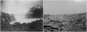 Before and after photos by Menzies Dickson of a Mauna Loa lava flow cascading into and ultimately filling a stream bed near Hilo in July 1881. Photos courtesy of National Park Service, Hawai'i Volcanoes National Park.