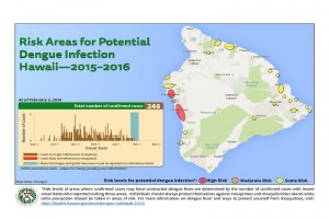 The Hawai'i Department of Health updated its map of potential areas of dengue fever infection, based on confirmed case information as of Wednesday, Feb. 3 DOH image.