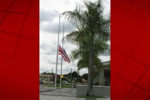 Flags flying at half-staff at Hale Kaulike, Hilo's courthouse. File photo.
