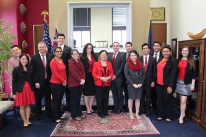 Senator Hirono and her staff raise awareness of heart disease's impact on women on National Wear Red Day. Courtesy photo.