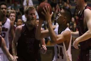 UH-Hilo's Ryan Reyes goes up for a shot against Azusa Pacific on Saturday. UH-Hilo photo.