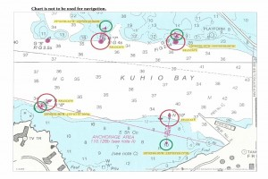 The Coast Guard began temporarily moving aids to navigation in Hilo Harbor to assist the U.S. Army Corps of Engineers with planned dredging operations on Sunday. U.S. Coast Guard graphic.
