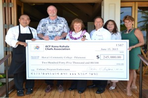 Members of the ACF Kona Kohala Chefs Association donate a check to Hawai'i CC-Palamanui last year. File photo.