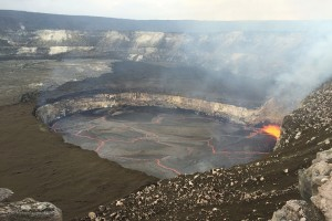 Kīlauea Volcano's summit eruption began on March 19, 2008, and continues today. The lava lake is contained within the Overlook crater, which is set within the larger Halema'uma'u Crater. In this February 28, 2016, photo, the lava lake surface was just 30 m (100 ft) below the rim of the Overlook crater. Spattering is visible in the southeast portion of the lake. USGS photo.