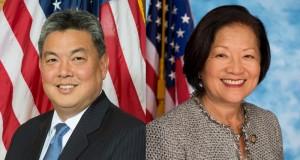 Representative Mark Takai and Senator Mazie Hirono. U.S. House of Representatives and Senate photos.