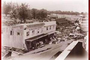 Kuwahara Store was one of the few structures on the ocean side of Kamehameha Avenue in downtown Hilo to survive the 1946 tsunami. Pacific Tsunami Museum file photo.
