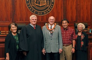 From left to right: Jackie Young, Vice Chair; Chief Justice Mark Recktenwald; Richard A. Dubanoski, Ph.D.; James A. Kawachika, Chair; Patricia Kim Park. Hawai'i State Judiciary photo.