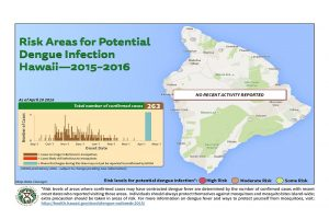 The Hawai'i Department of Health updated its map of potential areas of dengue fever infection, based on confirmed case information as of Wednesday, April 20. DOH image.