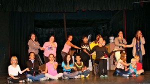 """Anna, the Wives, and Children in their first rehearsal of """"Getting to Know You"""" in KDEN's """"The King and I."""" KDEN file courtesy photo."""