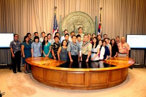 The Summer 2015 TIP cohort closed out their summer in grand ceremonies held in Governor Ige's offices at the State Capitol today, Aug. 14, 2015. State of Hawai'i TIP photo.