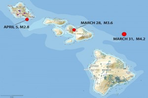 Red dots show updated locations and magnitudes of three earthquakes that occurred on or around the Islands of O'ahu and Maui in late March and early April 2016, as revised by seismologists at the U.S. Geological Survey's Hawaiian Volcano Observatory. The blue dots on and near the Island of Hawai'i show the locations of small (most were less than magnitude-3) earthquakes that occurred between March 28 and April 14, 2016. USGS map.