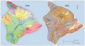 : A comparison of the 1946 Stearns and MacDonald map (left) and the 1996 BIMP map, digitized in 2005 (right), shows how the understanding of Hawai'i Island's geology advanced over half a century. Graphic from USGS General Interest Product 135.