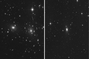 Comparison of the central portions of the sparse NGC 1600 galaxy group (right) with the dense Coma Cluster (left) which is at least 10 times more massive than the NGC 1600 group. The two closest companion galaxies of NGC 1600 (NGC 1601 and NGC 1603), are nearly 8 times fainter than NGC 1600 (center of right image). The Coma Cluster contains over 1,000 known galaxies. Both images are from the Second Palomar Observatory Sky Survey.