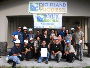 Members of the crew and staff of Big Island Biodiesel and Pacific Biodiesel met Governor David Ige and State Director of Transportation Ford Fuchigami just prior to National Biodiesel Day in 2015. Pacific Biodiesel file photo.