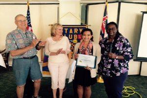 Hilo Bay Rotarians congratulate Jyselle Arruda on her scholarship award. Left to right, Richard Cunningham, Kim Keahiolalo, Arruda and Bettye Williams, RCHB president. Hilo Bay Rotary courtesy photo.