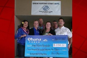 BGCBI receives donation from Ohana Fuels. L-R Joy Madriaga (HFN & Commercial Marketing Representative), Jamie Wenzlow (BGCBI Hilo Club Director), Kimo Haynes (Hawaii Petroleum President), Zavi Brees-Saunders (BGCBI out-going Chief Executive Officer), Lloyd Leong (HFN VP of Business Development and Sales), Chad Cabral (BGCBI incoming Chief Executive Officer). Courtesy photo.