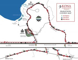 Kona Marathon course map.
