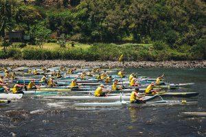 Competitors take on Maui's North shore in the OluKai Ho'olaule'a OC1 race, held on Sunday. Photo courtesy: OluKai.