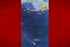 The map showing the Aleutians with respect to Hawai'i. UHM SOEST image.