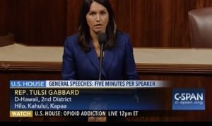 Congresswoman Tulsi Gabbard. Still taken from CSPAN video of Congresswoman Gabbard speaking on the house floor.