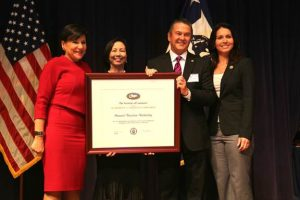 (Left to right): U.S. Secretary of Commerce Penny Pritzker; HTA Director of Communications Charlene Chan; HTA President and CEO George Szigeti; Rep. Tulsi Gabbard. Photo courtesy of the Office of Congresswoman Tulsi Gabbard.