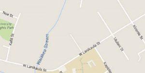 The traffic change will be in effect from Kinoole Street to Kalili Street on Lanikaula Street. Google Maps image.