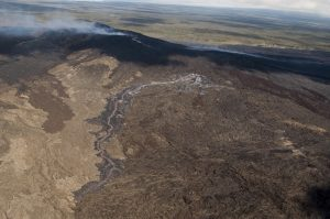 """Another breakout occurred just east of Puʻu ʻŌʻō, about 500 m (0.3 miles) from the crater, in the area of the """"Peace Day"""" flow that broke out in September 2011. USGS/Hawaiian Volcano Observatory photo."""