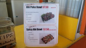 Poke specials at Dragon Kitchen. Photo by Marla Walters.
