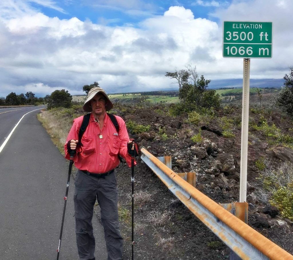 Dr. Kopp on the third day of his fourth walk around the island to raise awareness of unsheltered homelessness on the Big Island. Photo: Jamilia Epping, The Food Basket