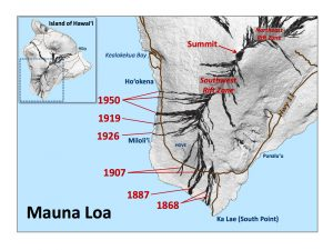 In the past 148 years, lava flows erupted from Mauna Loa's Southwest Rift Zone have crossed Hawaiʻi Island's main road (now Highway 11) six times. The years in which these flows were erupted are labeled in red. The location of Hawaiian Ocean View Estates (HOVE) is shown for reference. USGS map.