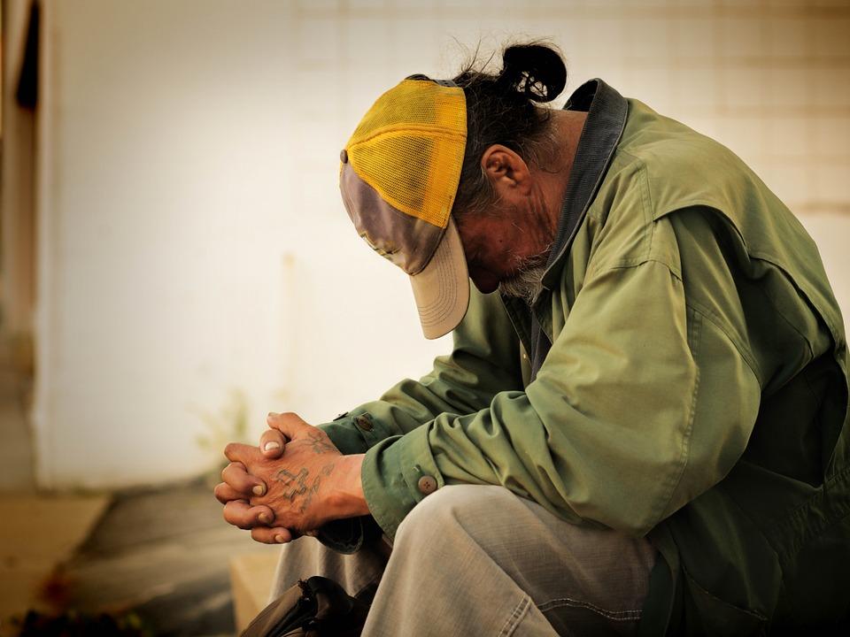 homeless sad man veteran