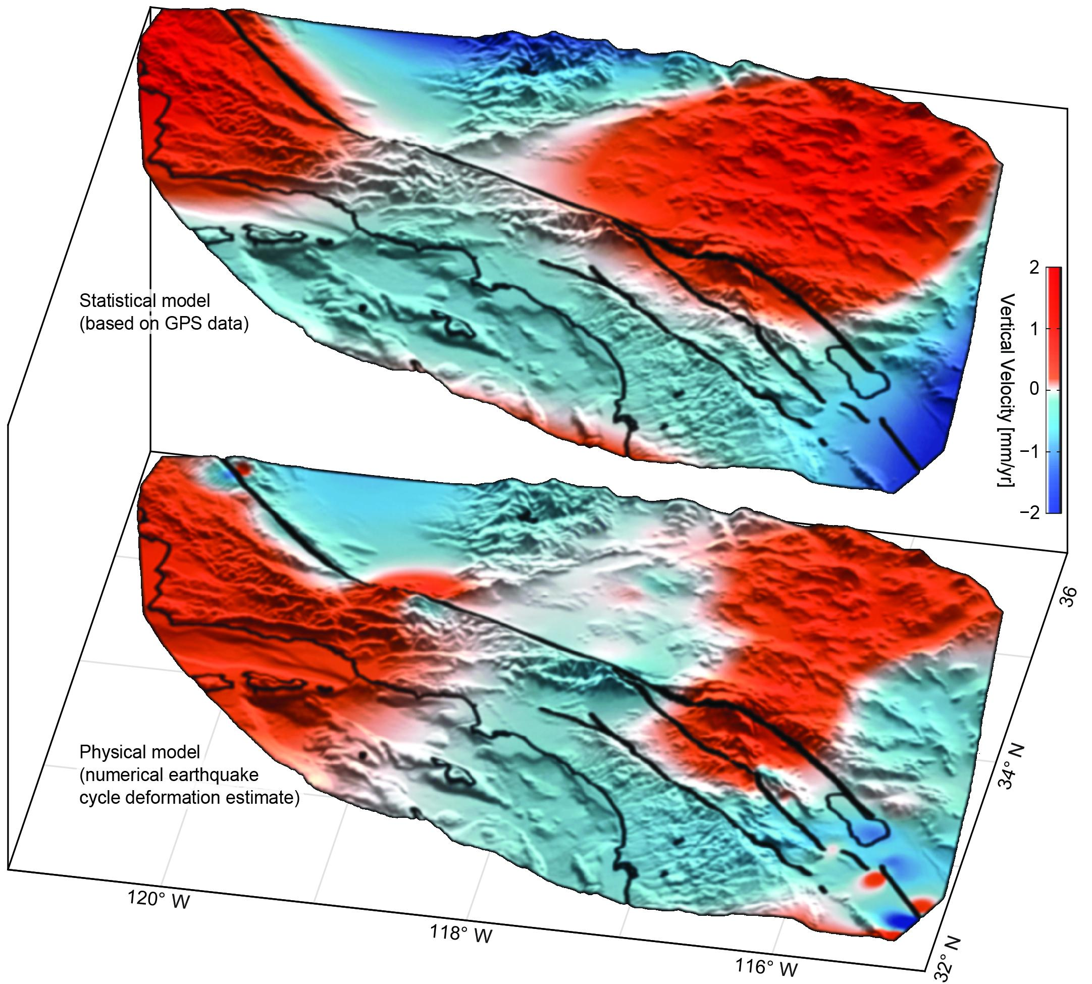 Uplift (red) and subsidence (blue) around the San Andreas Fault System ...