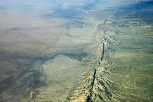 Aerial view of San Andreas Fault in the Carrizo Plain, 8,500 ft. altitude. Credit: Ikluft/Wikimedia.