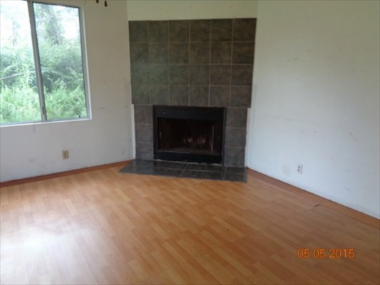 The home came with a built-in fireplace.