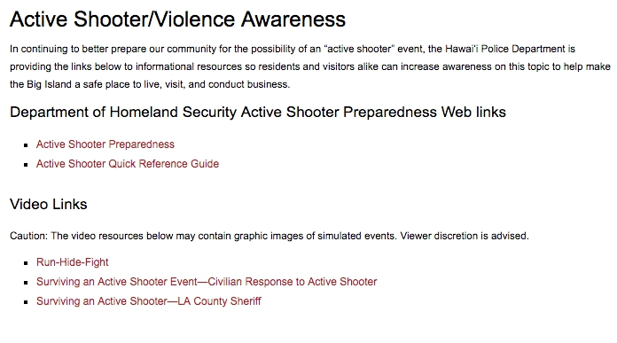 Hpd Offers Active Shooter Violence Info Big Island Now