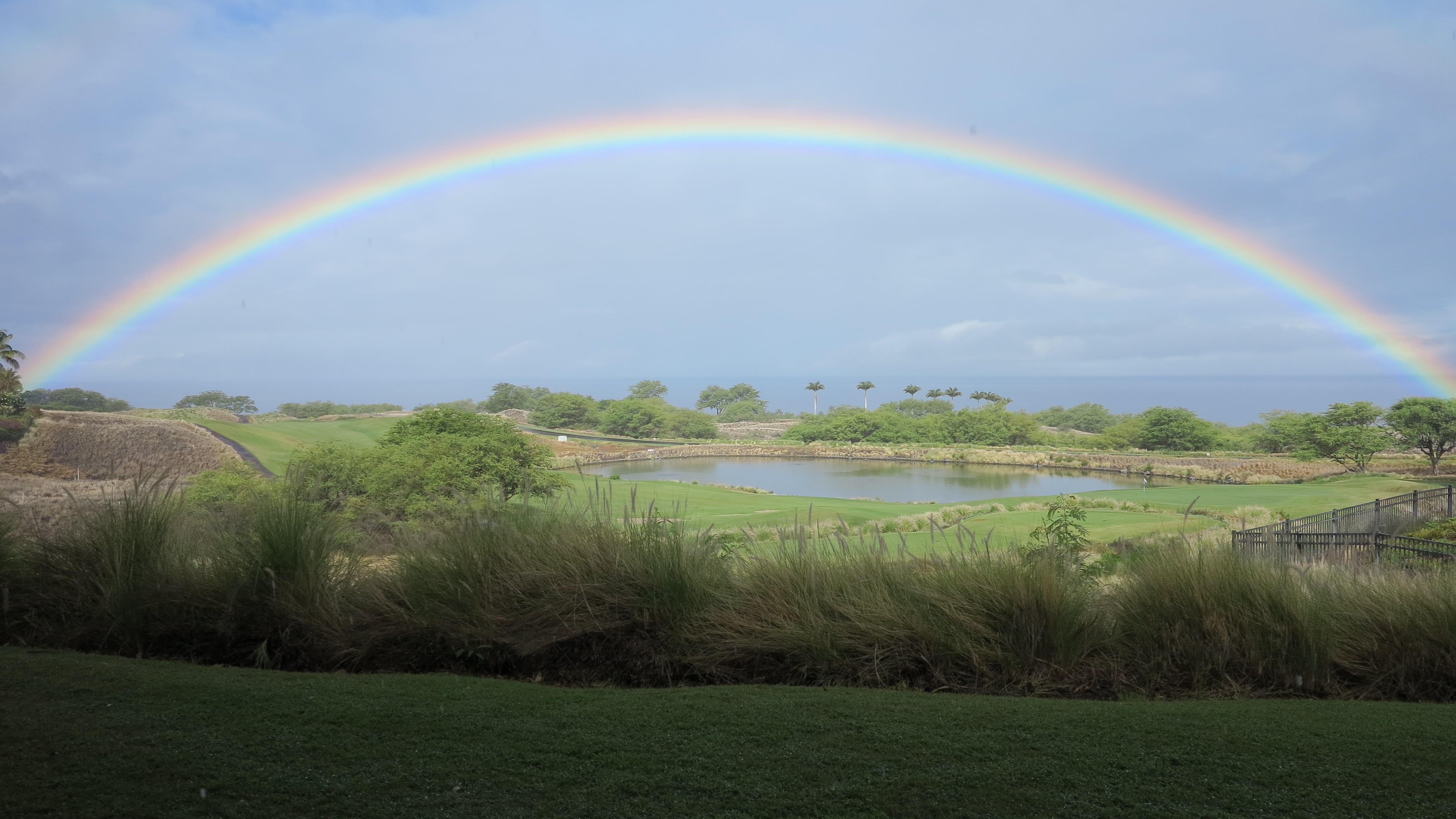 Rainbow over Hapuna and Mauna Kea Resort, July 23, 8 a.m. Photo: Beth Sundahl