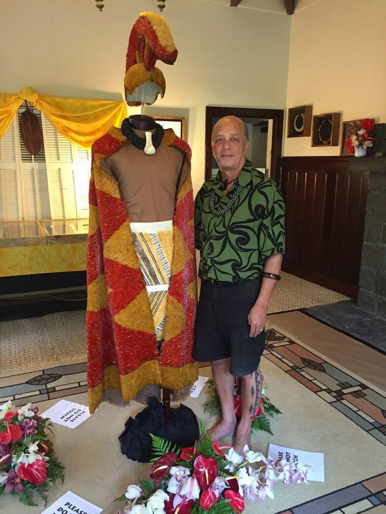 Rick San Nicolas displays feather cloak and helmet_lrChristaSadler