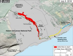 This map of Kīlauea Volcano's lava flow shows the locations of Hawaiʻi County's designated lava-viewing and parking areas (http://www.hawaiicounty.gov/lava-viewing/), as well as the lava flow's location relative to the Hawaiʻi Volcanoes National Park boundary (green line). The full extent of the active lava flow on July 5 is shown in red; an orange dot shows the location of the flow front as of mid-day on July 7. For recent maps and photos of the lava flow, please visit the USGS Hawaiian Volcano Observatory website (http://hvo.wr.usgs.gov). USGS graphic.