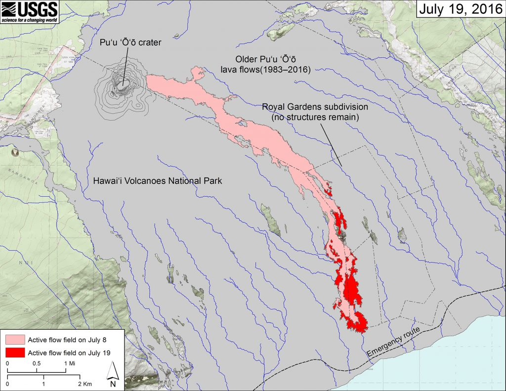 Map of Kīlauea's active lava flow as of July 19, 2016. Red shows the extent of new breakouts since July 8; pink shows the flow prior as of July 8, and gray shows areas covered by earlier Pu'u 'Ō'ō lava flows (1983–2016). As of July 20, the flow front was about 850 m (0.5 mi) from the ocean and making little forward progress, but active lava breakouts upslope of the flow front continued to widen the flow margins. USGS map.