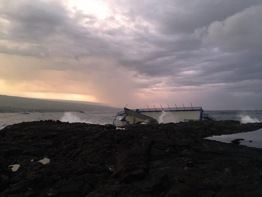 The Coast Guard is responding to the grounding of the Spirit of Kona on Hawai'i Island